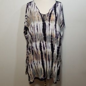 Lucky Brand Purple Tie Dye Bathing Suit Coverup OS
